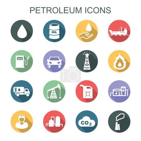 Illustration pour Icônes d'ombre longue pétrole, icônes vectorielles plates - image libre de droit