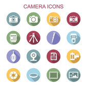 Camera long shadow icons flat vector symbols