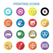 Printing long shadow icons flat vector symbols