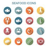 Seafood long shadow icons flat vector symbols