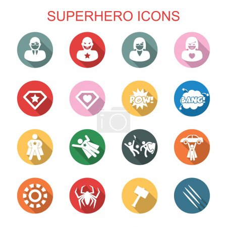 Illustration for Superhero long shadow icons, flat vector symbols - Royalty Free Image