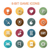 8-bit game long shadow icons flat vector symbols