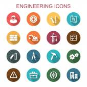 Engineering long shadow icons flat vector symbols