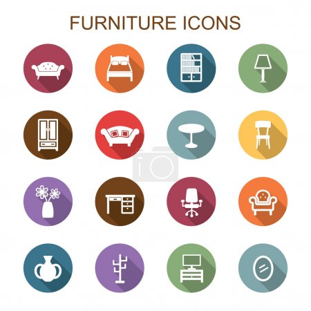 Furniture long shadow icons