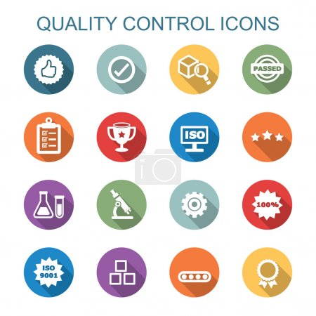 Illustration for Quality control long shadow icons, flat vector symbols - Royalty Free Image