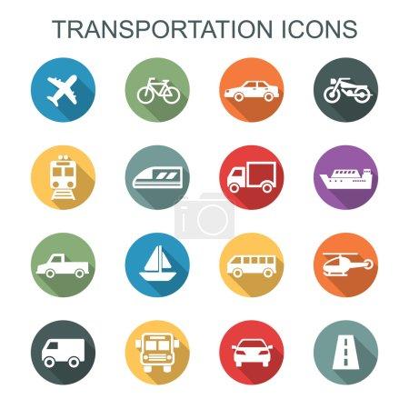 Transportation long shadow icons