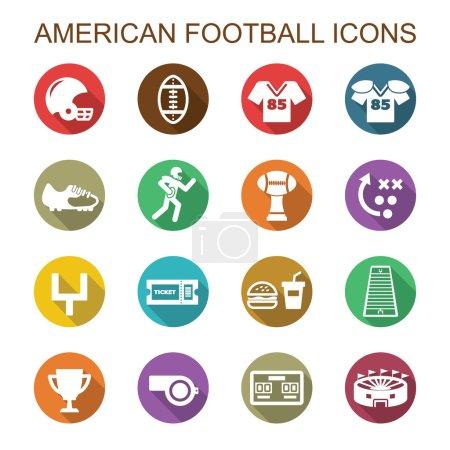American football long shadow icons