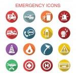 Emergency long shadow icons, flat vector symbols...