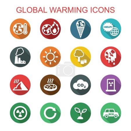 Illustration for Global warming long shadow icons, flat vector symbols - Royalty Free Image