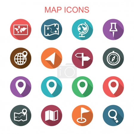 Illustration for Map long shadow icons, flat vector symbols - Royalty Free Image