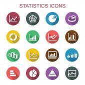 Statistics long shadow icons flat vector symbols