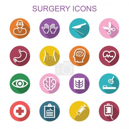 Illustration for Surgery long shadow icons, flat vector symbols - Royalty Free Image