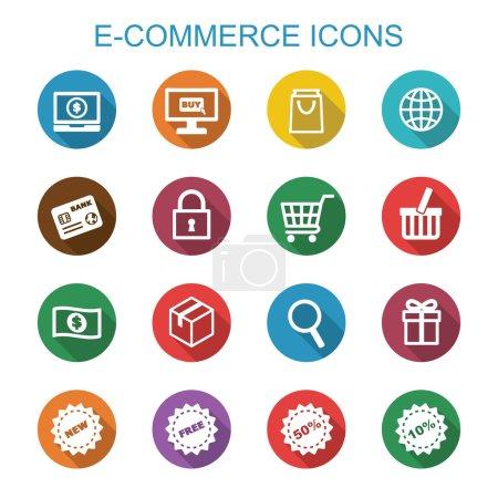 Illustration pour E-commerce longues icônes d'ombre, symboles vectoriels plats - image libre de droit