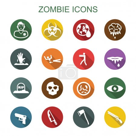 Illustration for Zombie long shadow icons, flat vector symbols - Royalty Free Image
