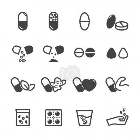Illustration for Capsule and pill icons, mono vector symbols - Royalty Free Image
