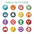 Public utility long shadow icons, flat vector symb...