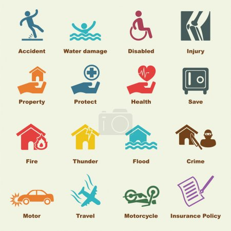 Illustration for Insurance elements, vector infigraphic icons - Royalty Free Image