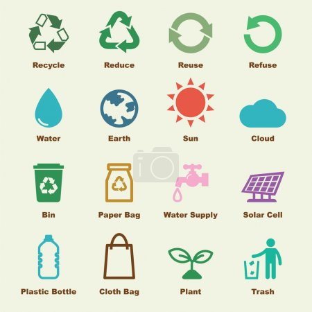 Illustration for Recycle elements, vector infographic icons - Royalty Free Image