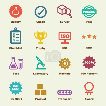 Illustration for Quality control elements, vector infographic icons - Royalty Free Image