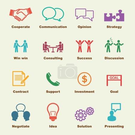 Illustration pour Éléments de négociation, icônes vectorielles infographiques - image libre de droit