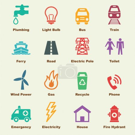 Public utility elements, vector infographic icons...