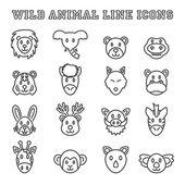 wild animal line icons