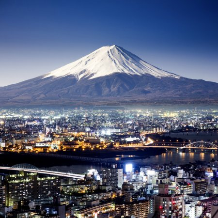 Mount Fuji. Fujiyama. Aerial view with cityspace surreal shot. J