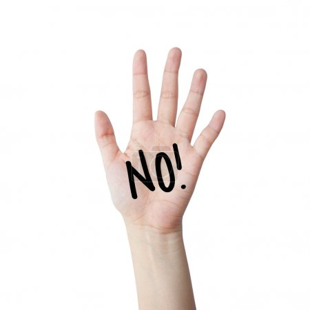Di que no. mano aislada sobre fondo blanco