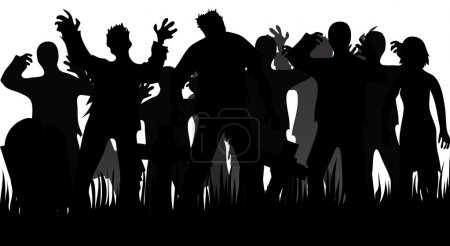 Silhouettes of zombies and tombstones