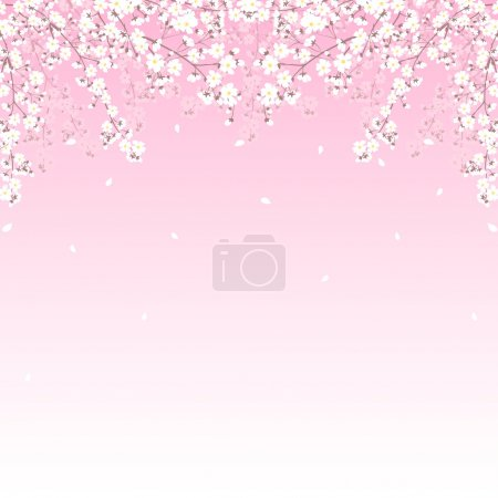 Illustration for Spring background with blooming tree branches border - Royalty Free Image