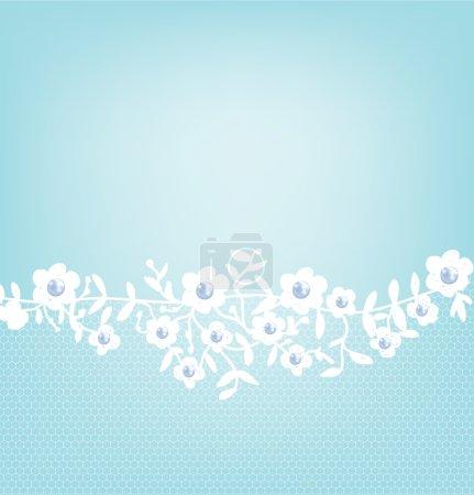 Lace border on blue background