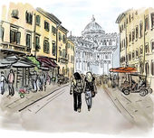 Artistic watercolor sketch of street in Pisa Italy