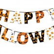 Halloween orange and black banner with greetings H...