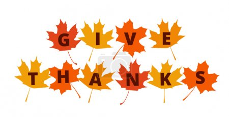 Illustration for Give Thanks text on autumn leaves - greetings decoration for Thanksgiving Day - Royalty Free Image