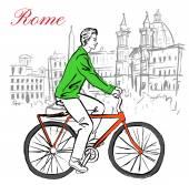 Muž na kole v Římě