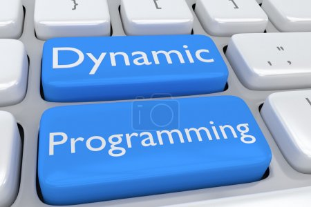Photo pour Rendre l'illustration du clavier de l'ordinateur avec la programmation dynamique impression sur les deux boutons adjacents de bleus pâles - image libre de droit