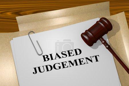 Photo pour 3D illustration du titre de «Jugement partial» sur document juridique - image libre de droit