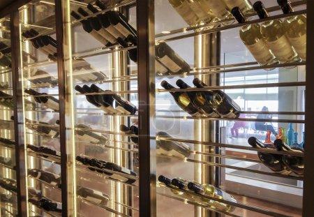 Elegant wine storage refrigerator with glass doors...