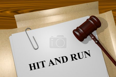 Photo for Render illustration of Hit and Run Title On Legal Documents - Royalty Free Image