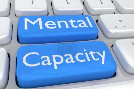Photo pour Illustration du clavier d'ordinateur avec l'impression Capacité mentale sur deux boutons bleus pâles adjacents - image libre de droit