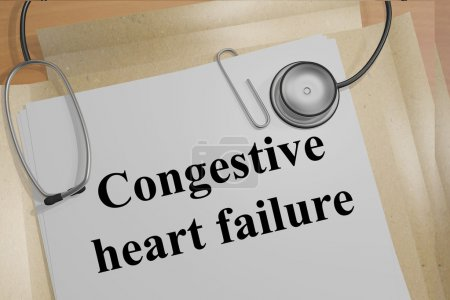 Photo for Render illustration of Congestive heart failure title on Medical Documents - Royalty Free Image