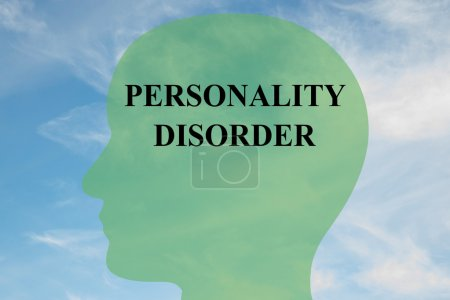 Photo for Render illustration of Personality Disorder Title on head silhouette, with cloudy sky as a background - Royalty Free Image