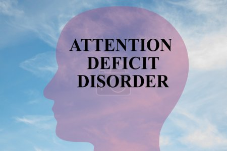 Photo for Render illustration of Attention Deficit Disorder title on head silhouette, with cloudy sky as a background. - Royalty Free Image