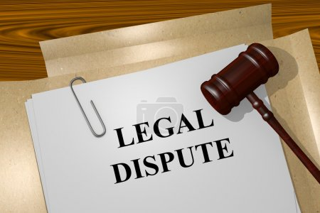 Photo pour Rendre l'illustration du titre du litige sur les documents juridiques - image libre de droit