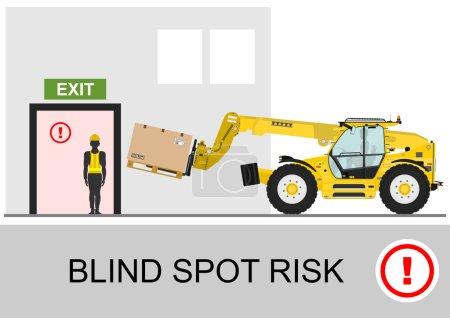 Illustration for Blind spot risk. Non rotating telescopic handler (forklift) safety. Flat vector - Royalty Free Image