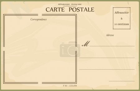 Illustration for Reverse of postcard. In the style of French postcards from the early 20th century. Vector illustration without gradients. Base for further editing and adding any textures. - Royalty Free Image