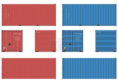 20 feet shipping container in four views. Vector w...