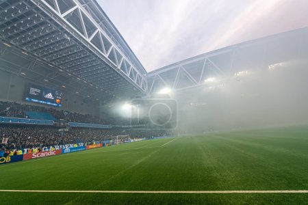 Tele2 arena in halftime when the fans used bengal fires in the g