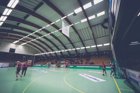 Eriksdals arena before the game with some Lugi players warming u
