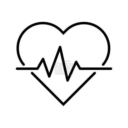 Illustration pour Icône de ligne de battement de terre, symbole médical de battement de coeur isolé sur fond blanc, logo de l'hôpital, illustration vectorielle . - image libre de droit